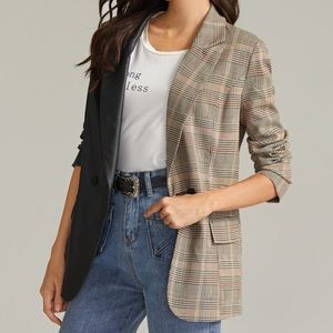 Faux Leather and Plaid Blazer